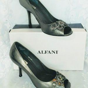 Alfani Pewter Heels with Rhinestones